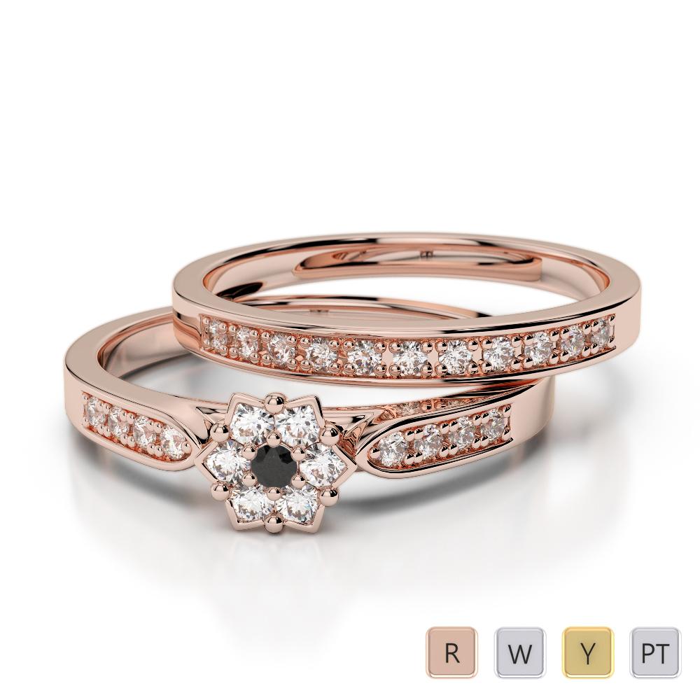 Gold / Platinum Round cut Black Diamond with Diamond Bridal Set Ring AGDR-1051
