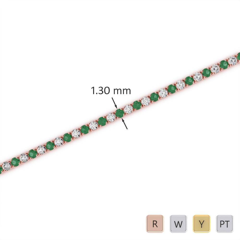 Gold / Platinum Round Cut Emerald and Diamond Bracelet AGBRL-1001