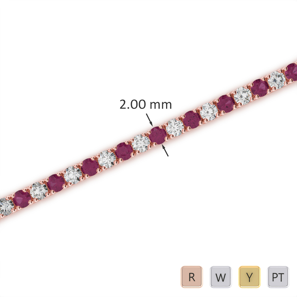 Gold / Platinum Round Cut Ruby and Diamond Bracelet AGBRL-1003