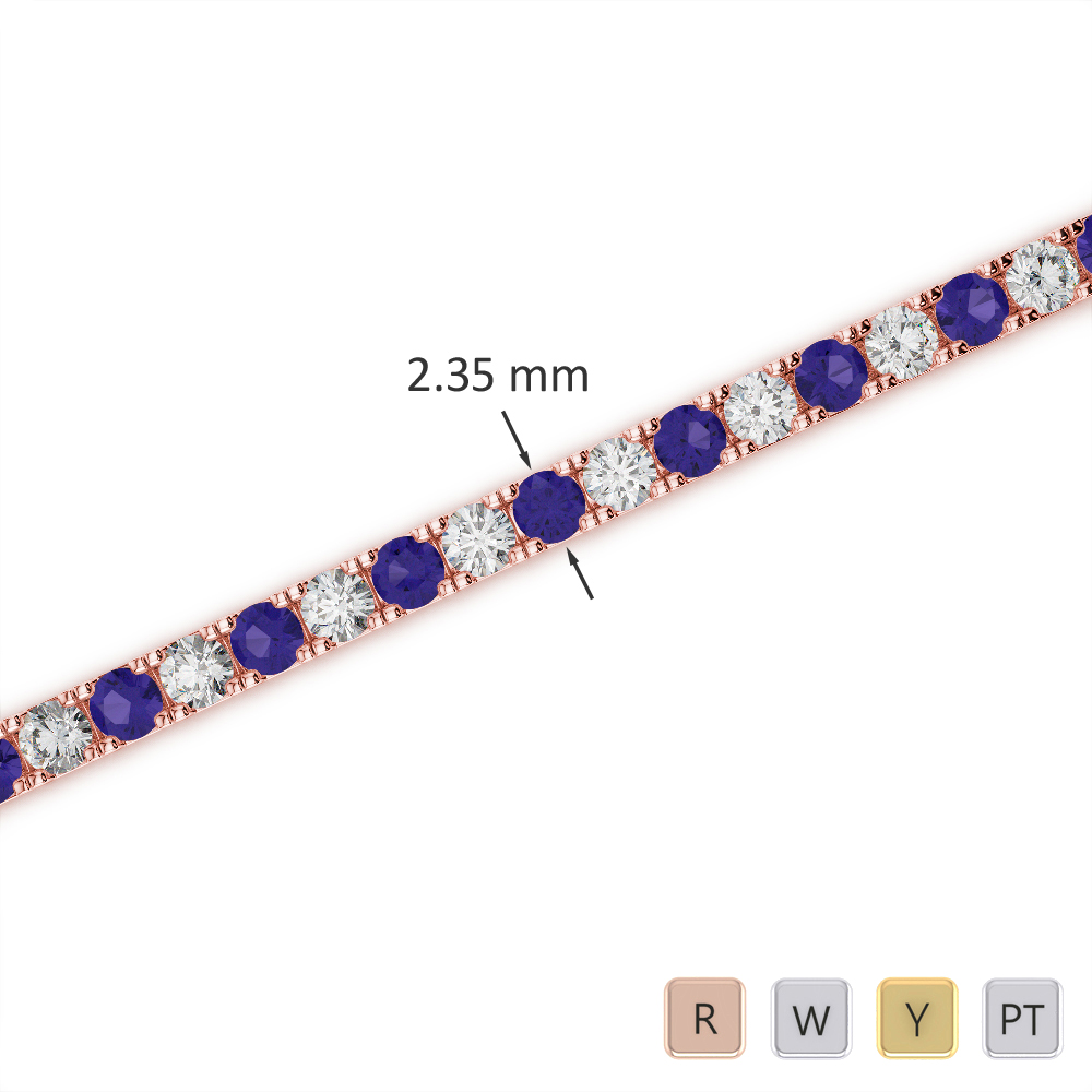 Gold / Platinum Round Cut Tanzanite and Diamond Bracelet AGBRL-1015
