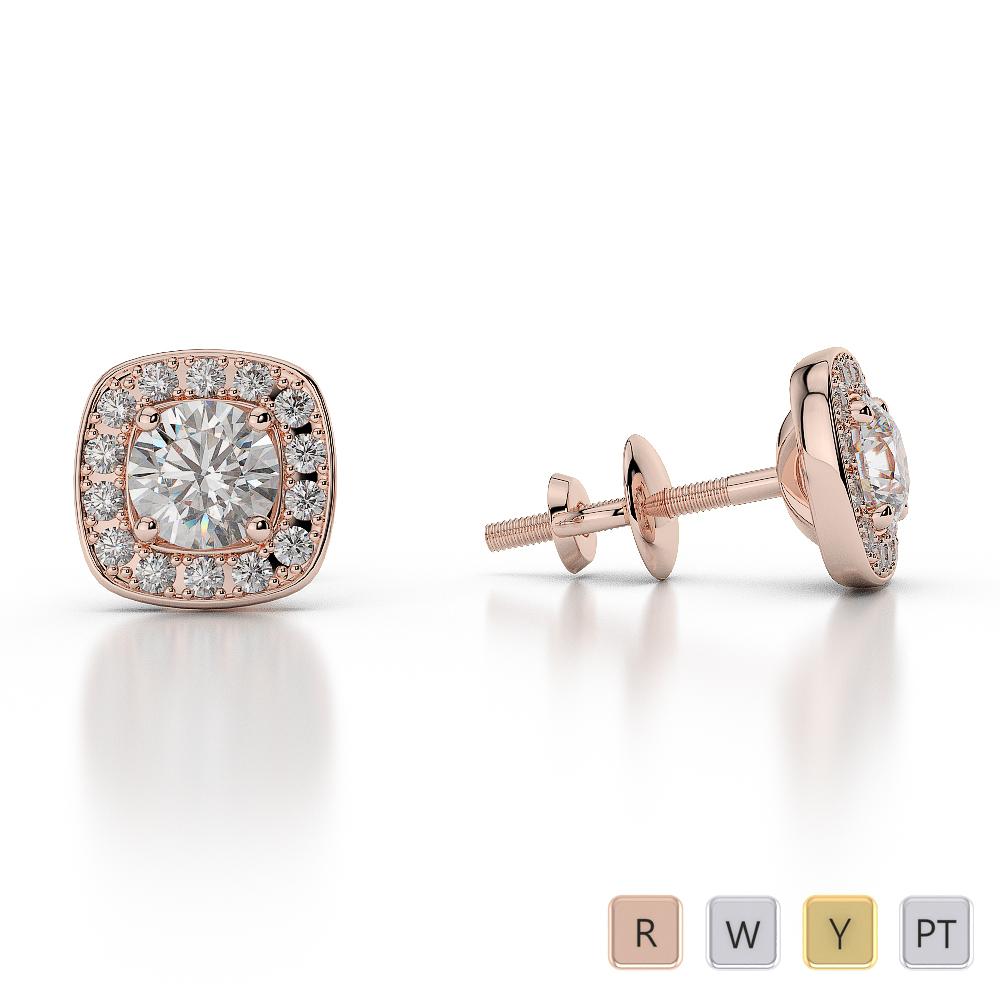 Gold / Platinum Diamond Halo Earrings AGER-1011