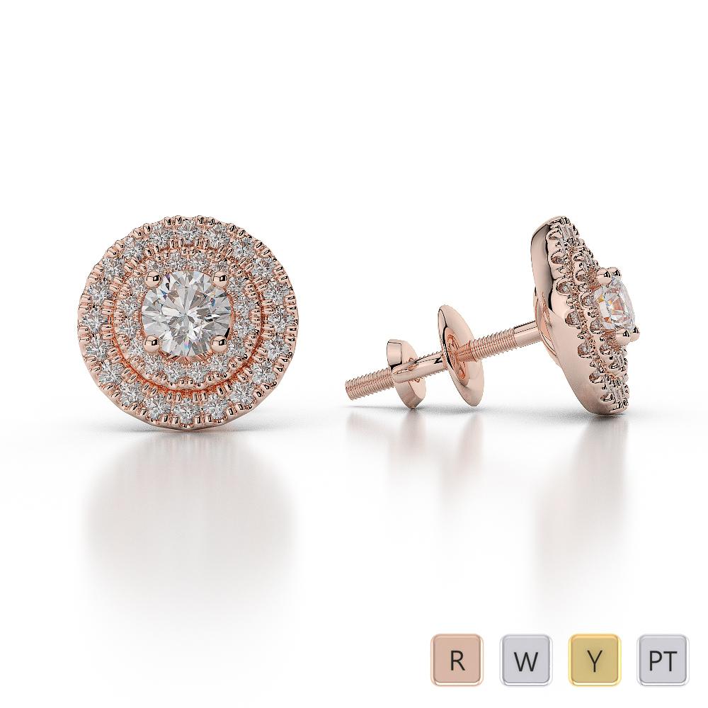 Gold / Platinum Diamond Halo Earrings AGER-1013