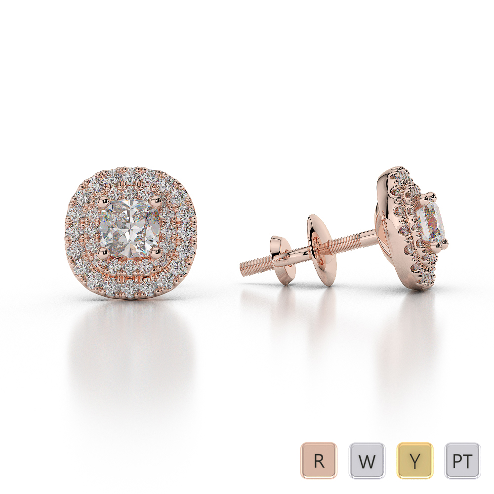 Gold / Platinum Diamond Halo Earrings AGER-1014
