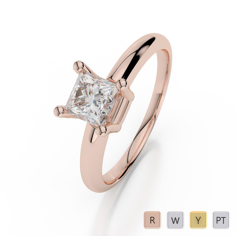 Gold / Platinum Princess Shape Diamond Solitaire Ring AGDR-1007