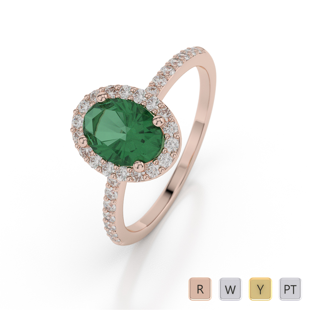 Gold / Platinum Oval Shape Gemstone & Diamond Ring AGDR-1072