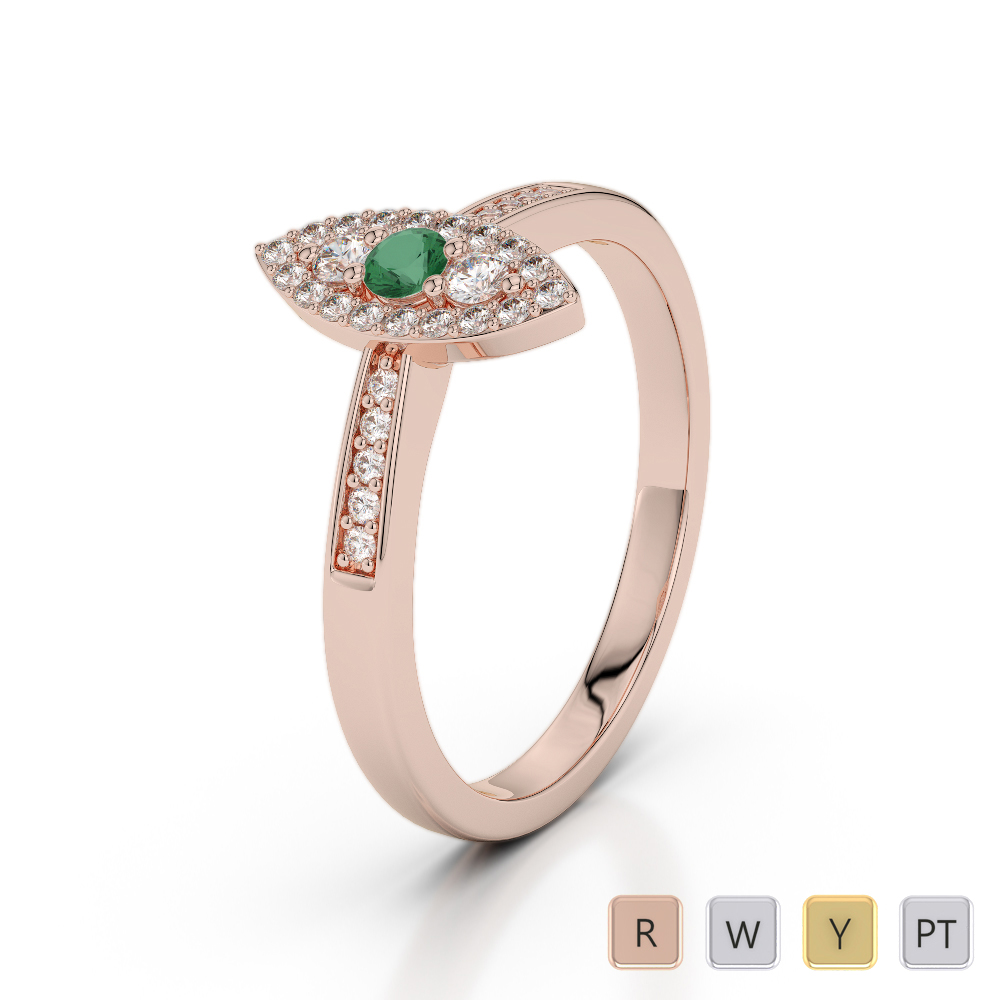 Gold / Platinum Round Cut Emerald and Diamond Engagement Ring AGDR-1161