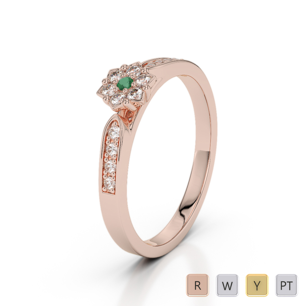 Gold / Platinum Round Cut Emerald and Diamond Engagement Ring AGDR-1162