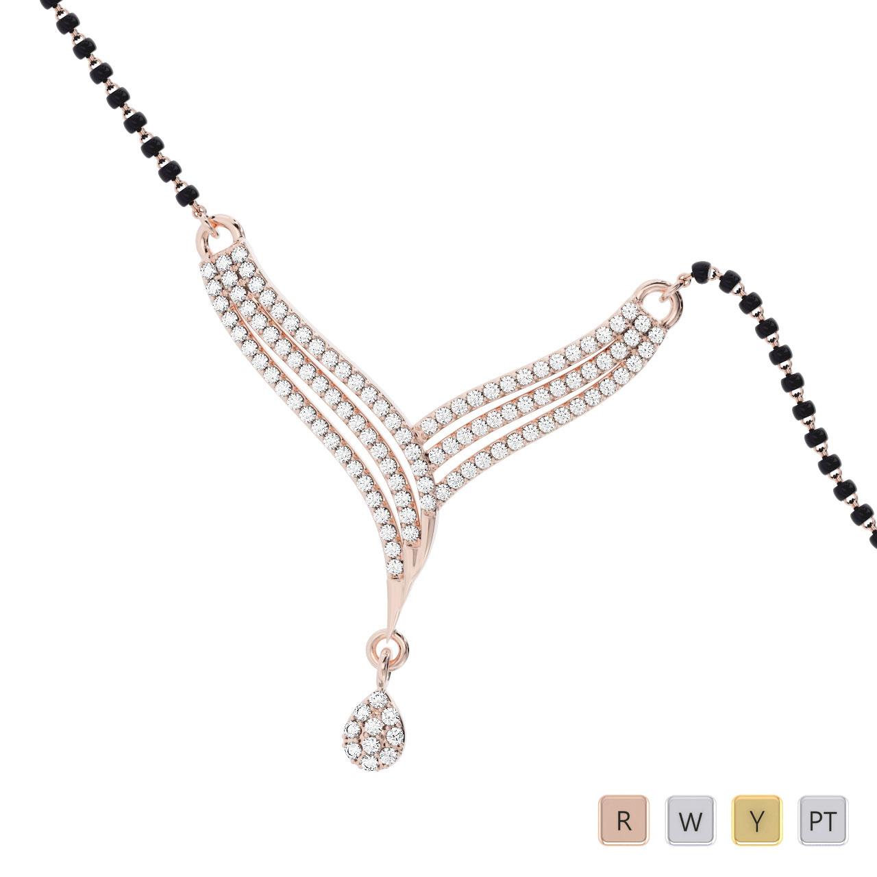 Gold / Platinum Round Cut Diamond Mangalsutra TZ0334