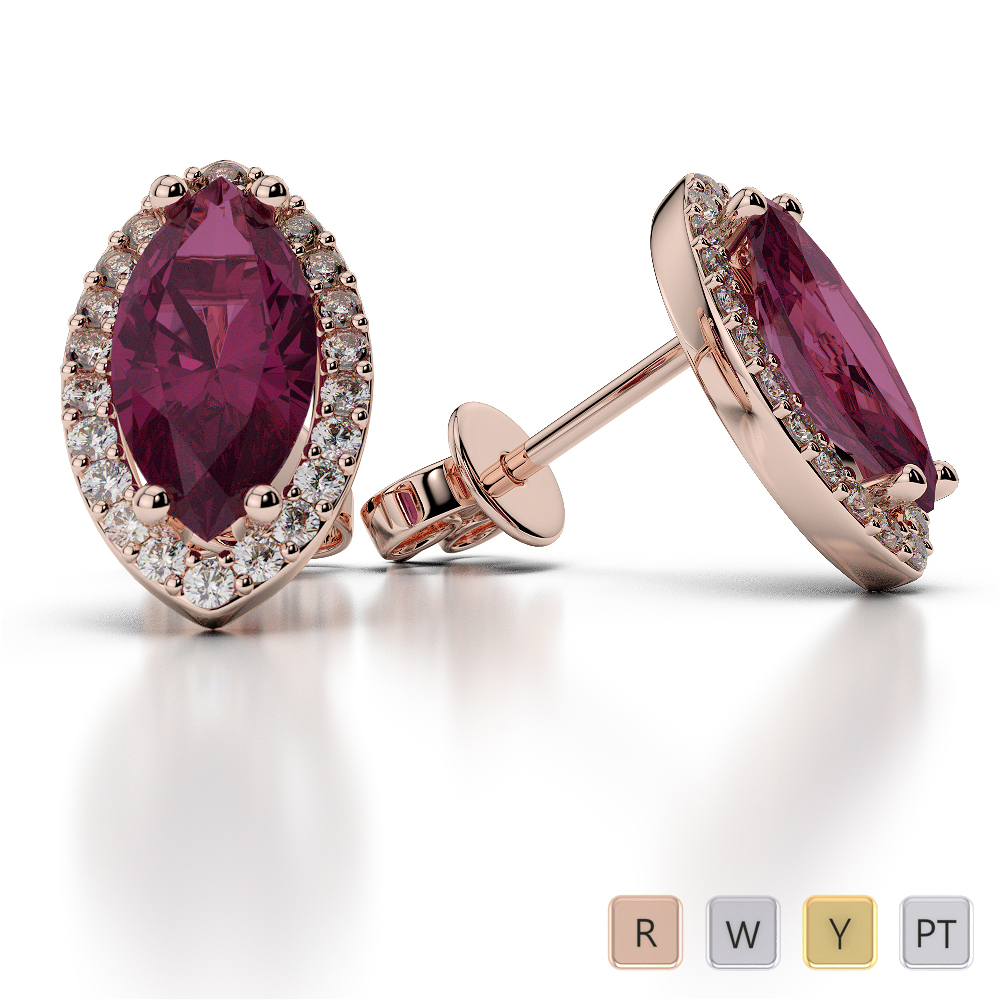 Marquise Shape Ruby and Diamond Earrings in Gold / Platinum AGER-1067