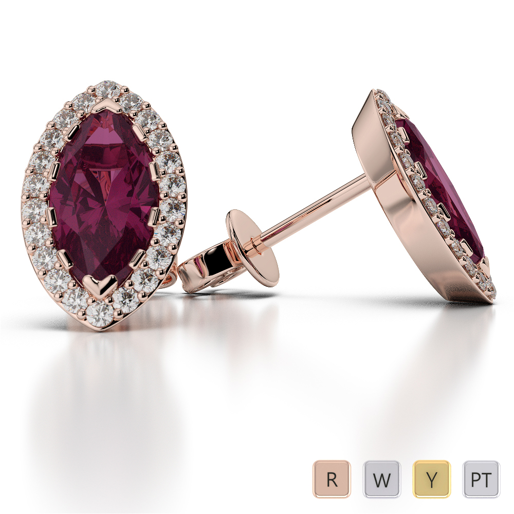 Marquise Shape Ruby and Diamond Earrings in Gold / Platinum AGER-1068