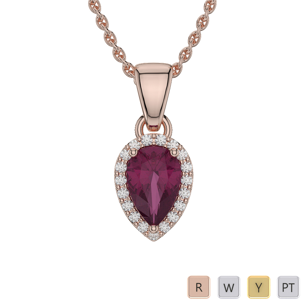 Pear Shape Ruby and Diamond Necklaces in Gold / Platinum AGDNC-1074