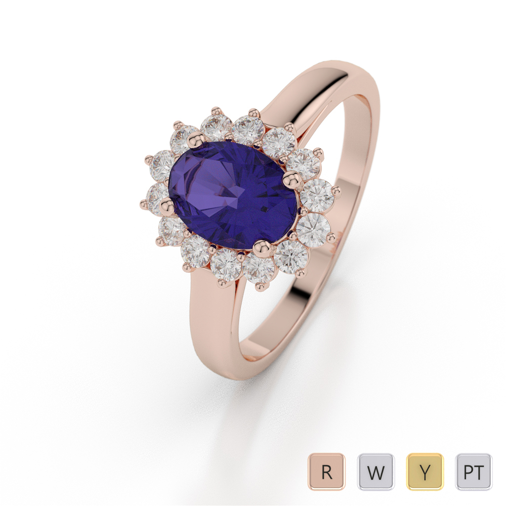 Gold / Platinum Oval Shape Tanzanite and Diamond Ring AGDR-1071