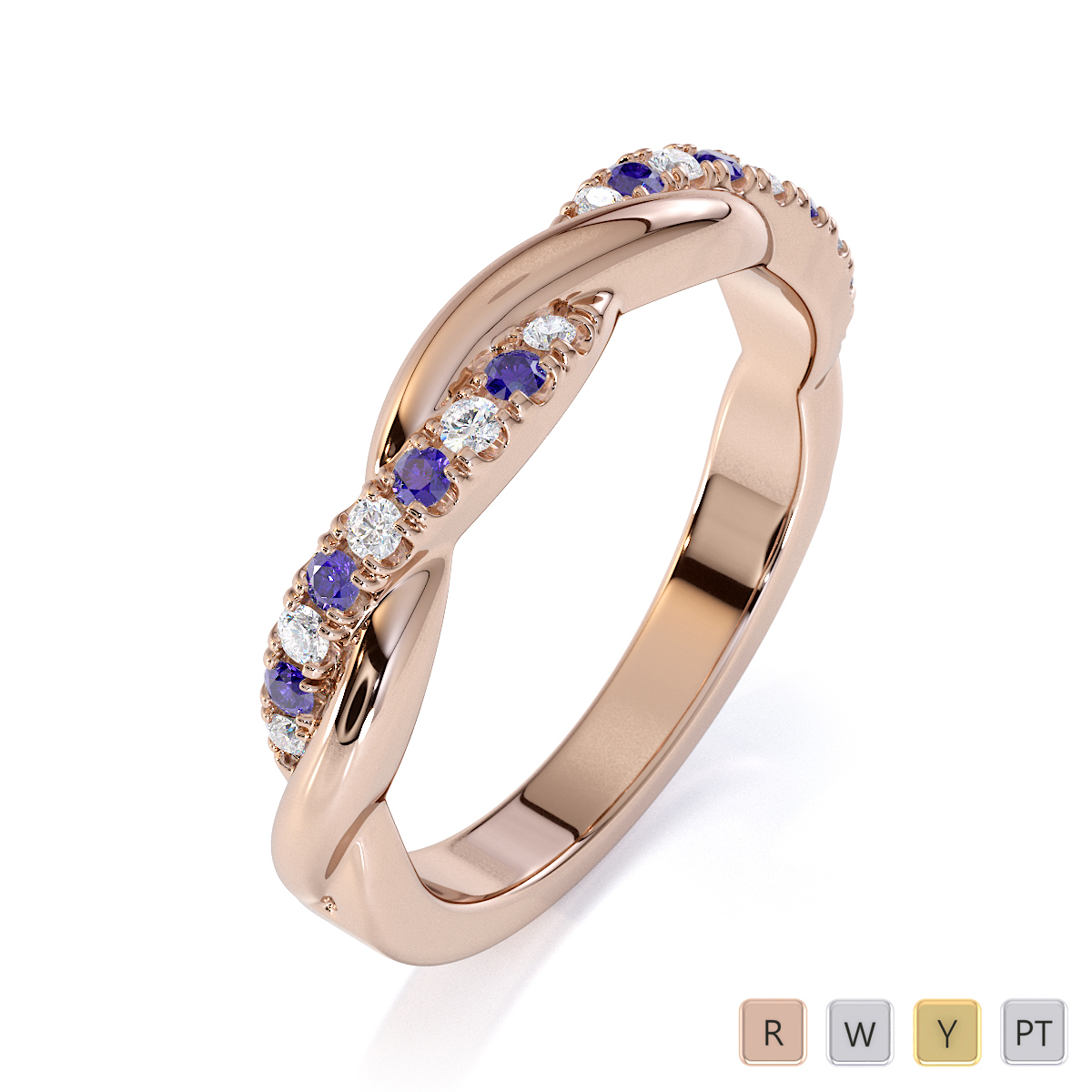 Gold / Platinum Tanzanite and Diamond Half Eternity Ring RZ1523