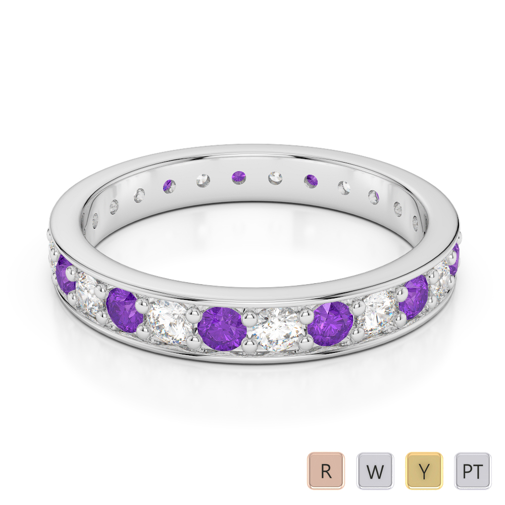 3 MM Gold / Platinum Round Cut Amethyst and Diamond Full Eternity Ring AGDR-1080