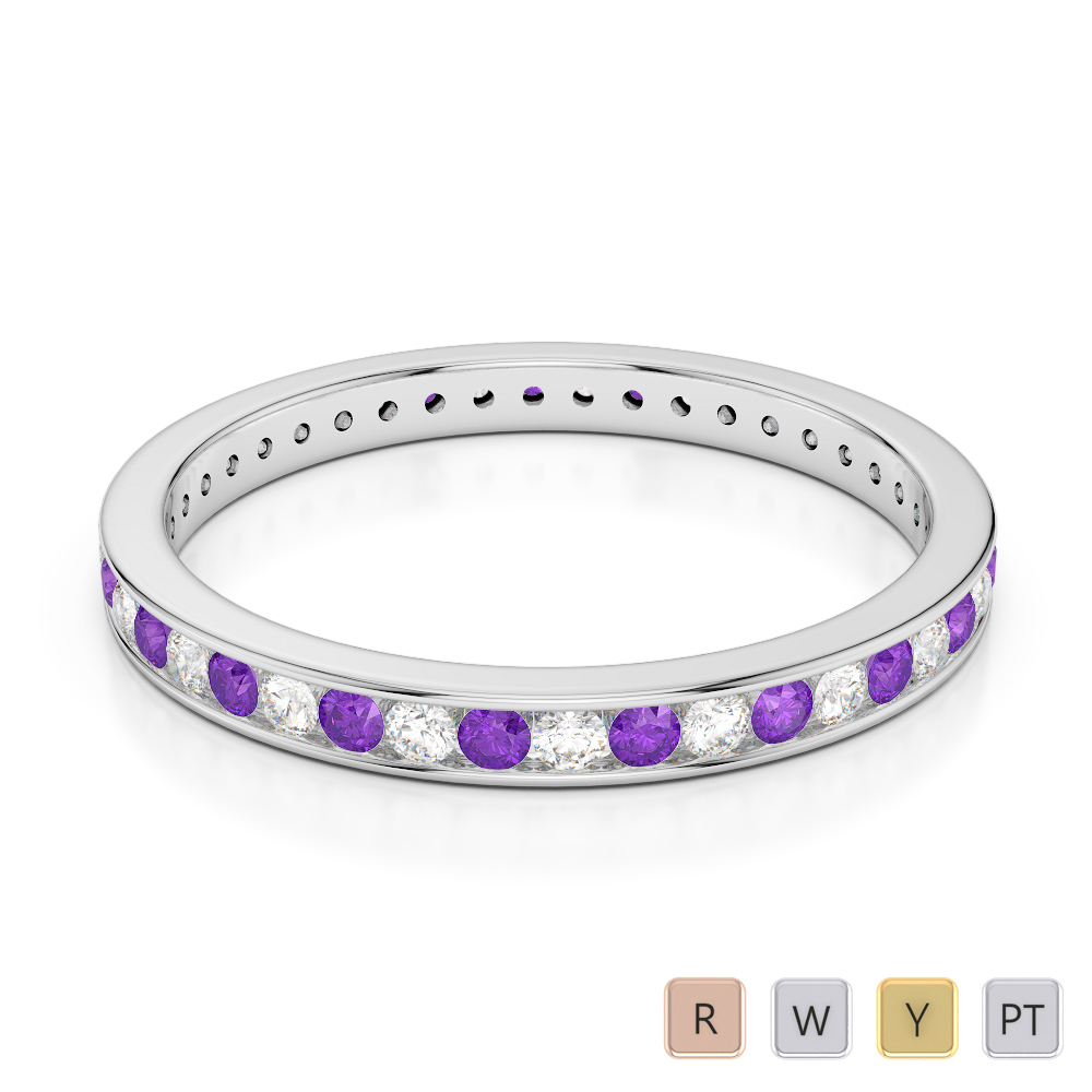 2.5 MM Gold / Platinum Round Cut Amethyst and Diamond Full Eternity Ring AGDR-1086
