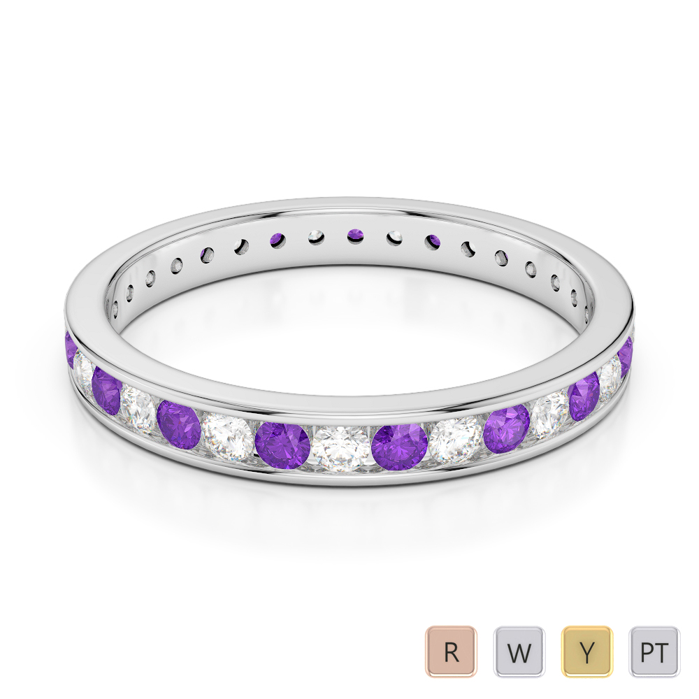3 MM Gold / Platinum Round Cut Amethyst and Diamond Full Eternity Ring AGDR-1087