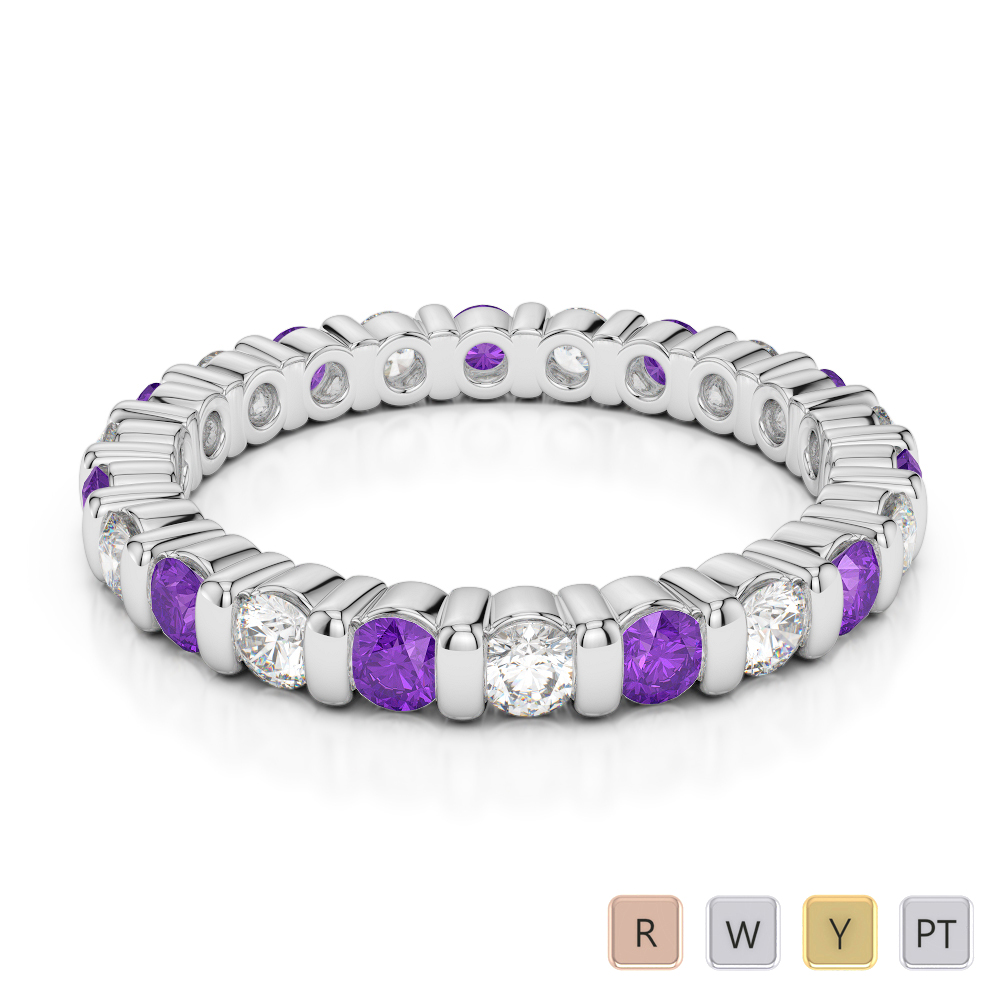 Gold / Platinum Round Cut Amethyst and Diamond Full Eternity Ring AGDR-1093