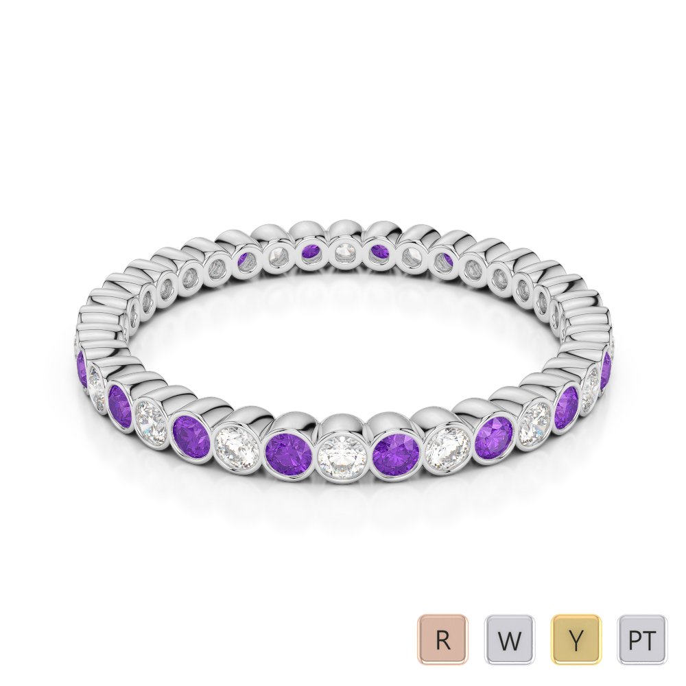 Gold / Platinum Round Cut Amethyst and Diamond Full Eternity Ring AGDR-1098