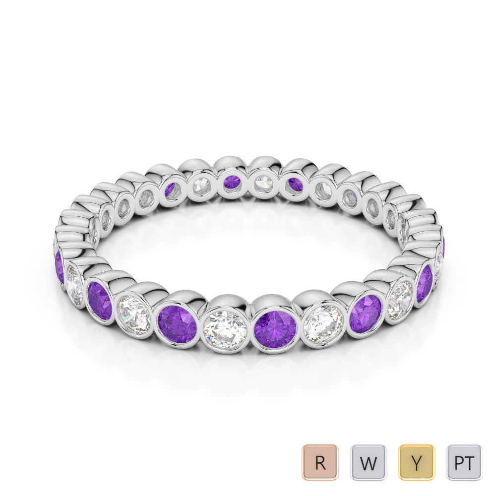 2.5 MM Gold / Platinum Round Cut Amethyst and Diamond Full Eternity Ring AGDR-1099
