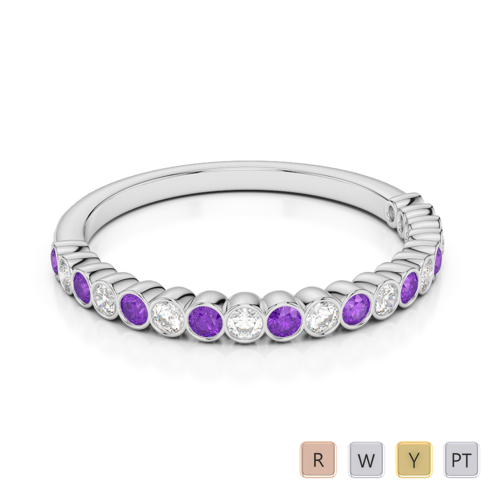 2 MM Gold / Platinum Round Cut Amethyst and Diamond Half Eternity Ring AGDR-1101