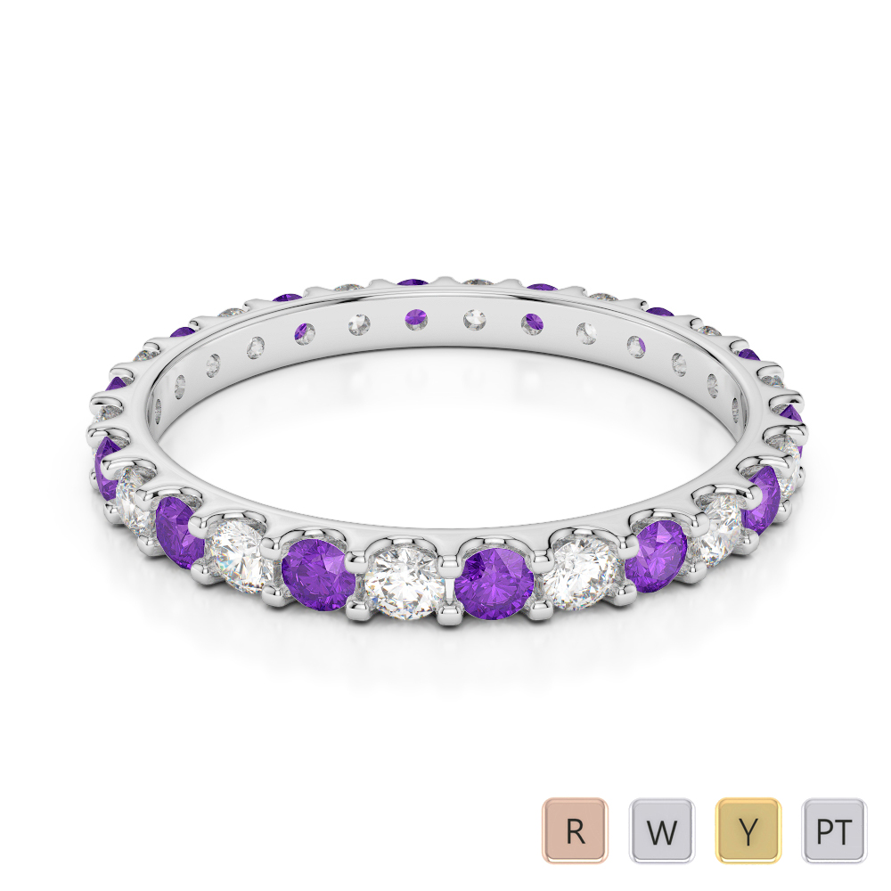 2 MM Gold / Platinum Round Cut Amethyst and Diamond Full Eternity Ring AGDR-1104