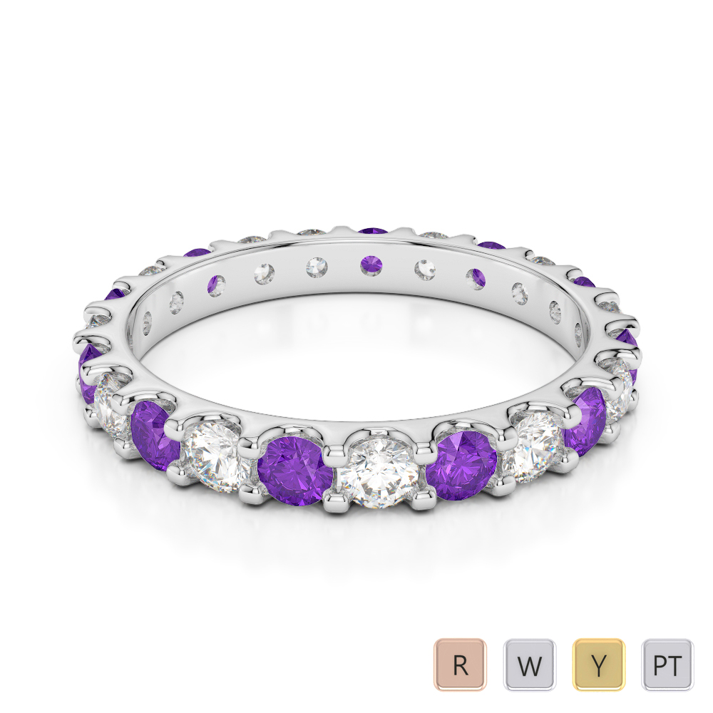 Gold / Platinum Round Cut Amethyst and Diamond Full Eternity Ring AGDR-1105