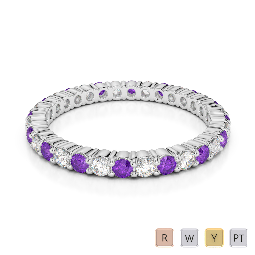 2 MM Gold / Platinum Round Cut Amethyst and Diamond Full Eternity Ring AGDR-1110
