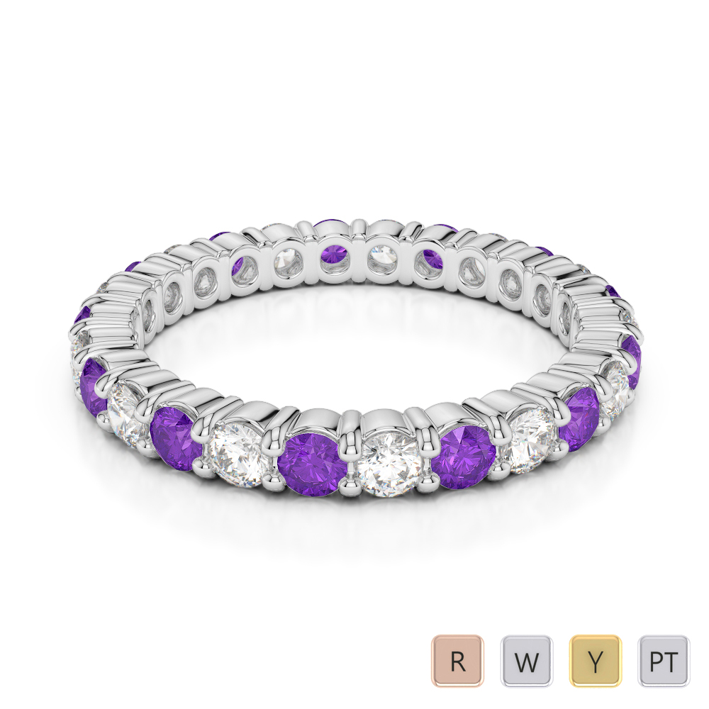 2.5 MM Gold / Platinum Round Cut Amethyst and Diamond Full Eternity Ring AGDR-1111