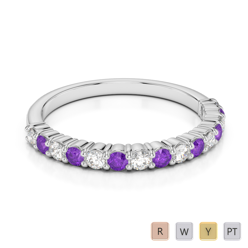 2 MM Gold / Platinum Round Cut Amethyst and Diamond Half Eternity Ring AGDR-1113
