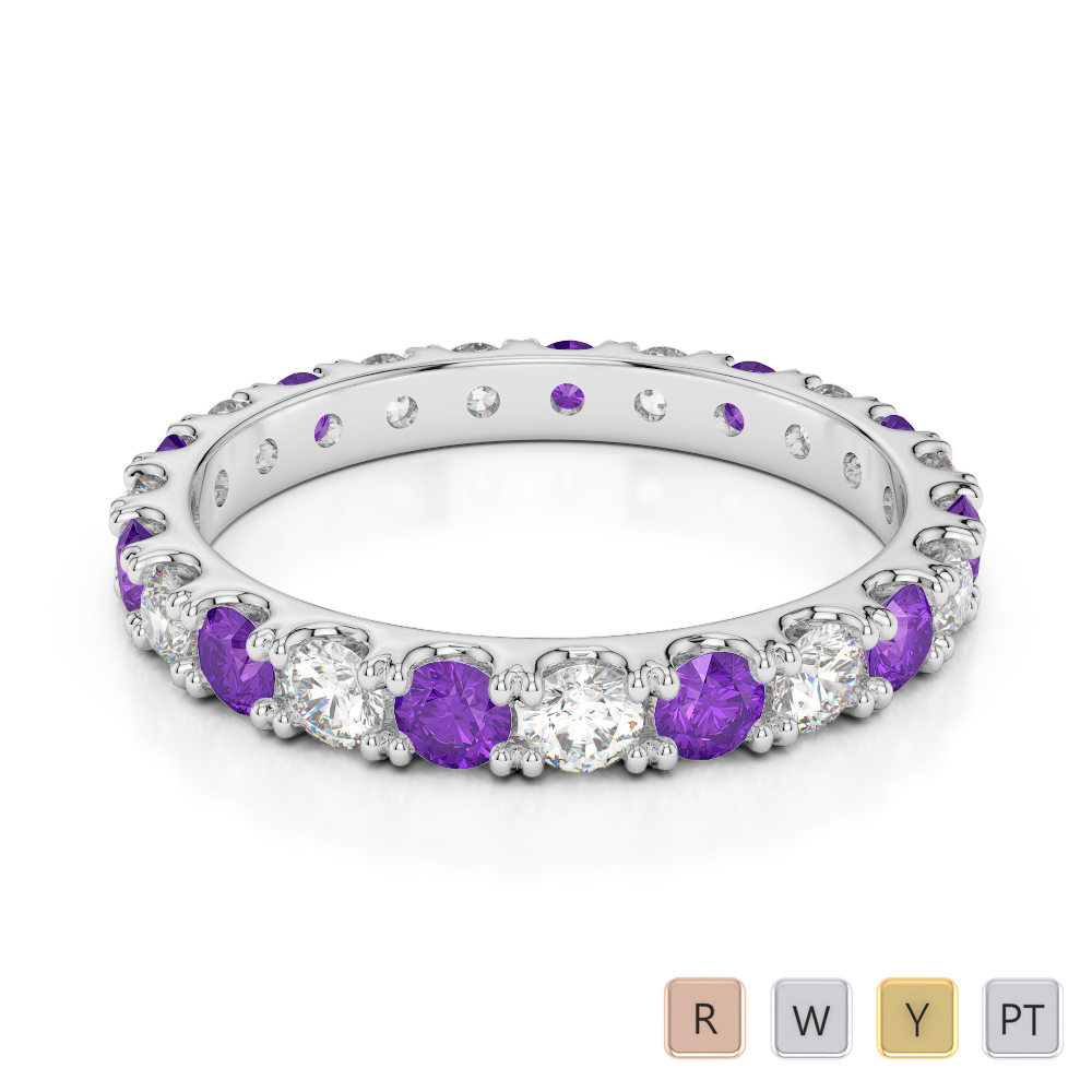 Gold / Platinum Round Cut Amethyst and Diamond Full Eternity Ring AGDR-1121