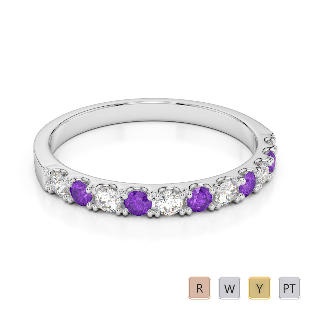 Gold / Platinum Round Cut Amethyst and Diamond Half Eternity Ring AGDR-1123