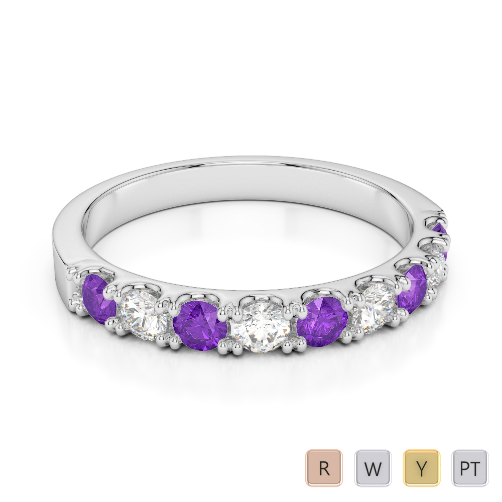 Gold / Platinum Round Cut Amethyst and Diamond Half Eternity Ring AGDR-1124