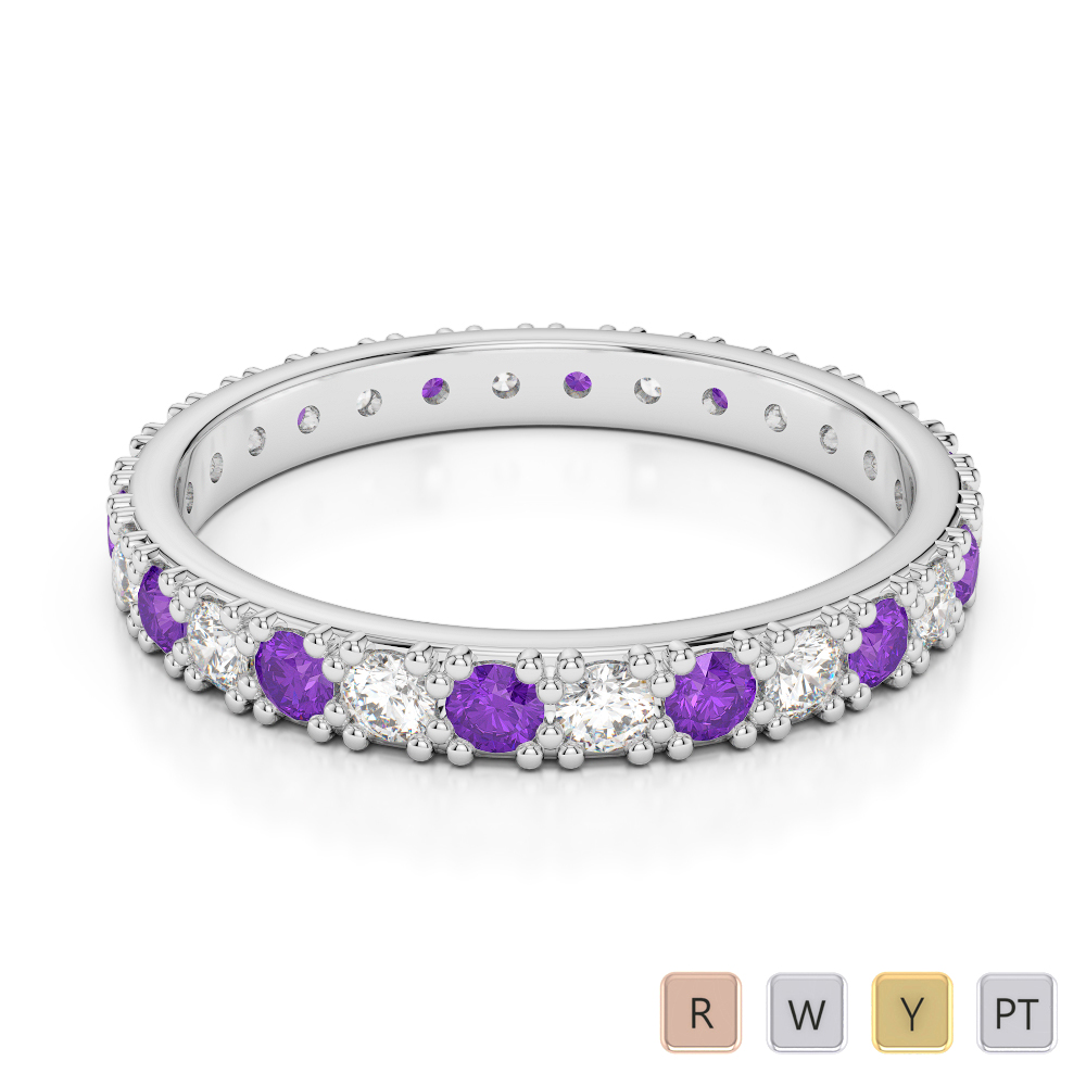 2.5 MM Gold / Platinum Round Cut Amethyst and Diamond Full Eternity Ring AGDR-1127