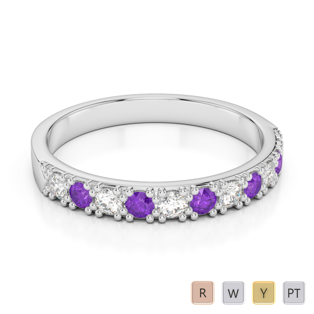 3 MM Gold / Platinum Round Cut Amethyst and Diamond Half Eternity Ring AGDR-1130