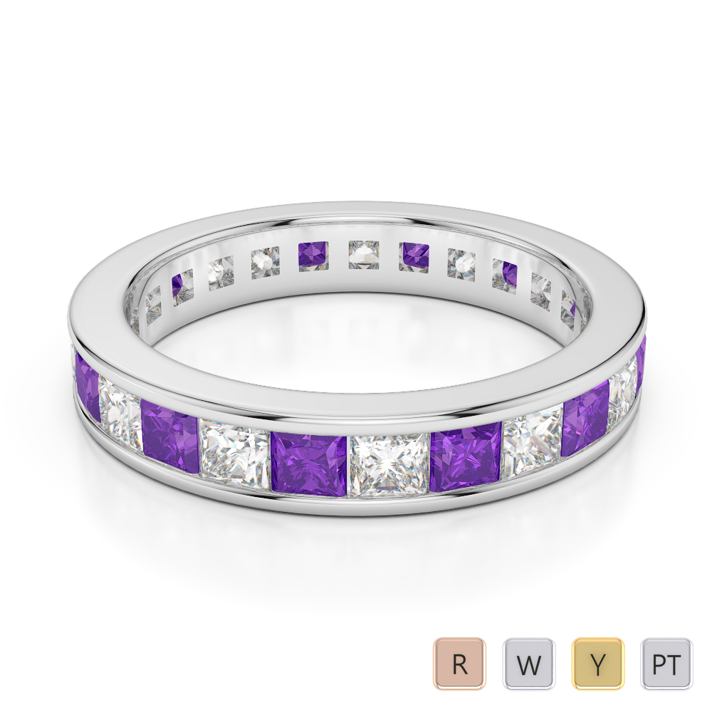 4 MM Gold / Platinum Princess Cut Amethyst and Diamond Full Eternity Ring AGDR-1134