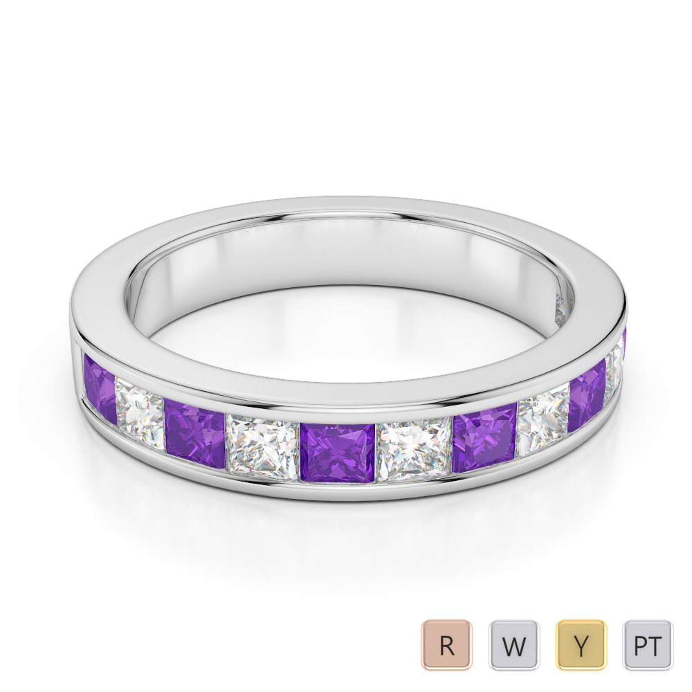 4 MM Gold / Platinum Princess Cut Amethyst and Diamond Half Eternity Ring AGDR-1137