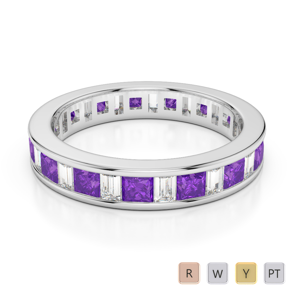 4 MM Gold / Platinum Princess and Baguette Cut Amethyst and Diamond Full Eternity Ring AGDR-1141
