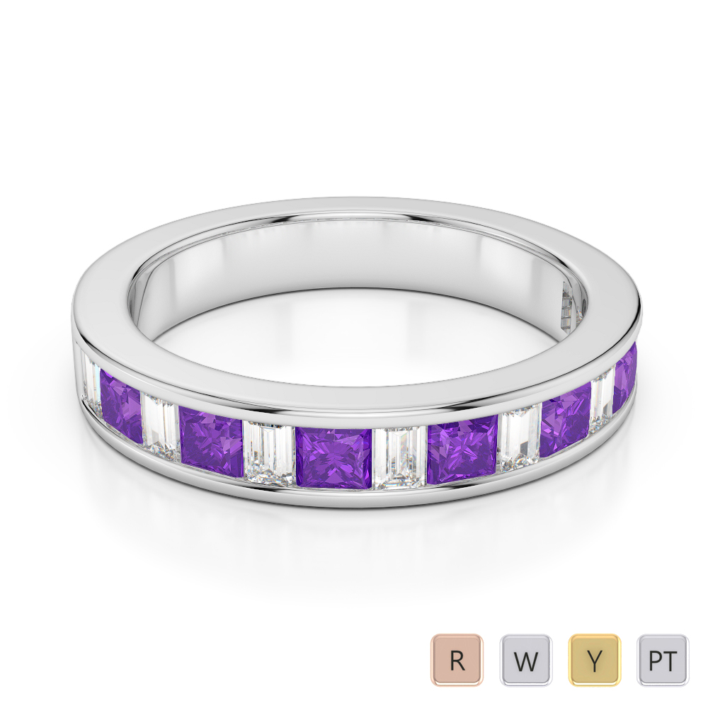 4 MM Gold / Platinum Princess and Baguette Cut Amethyst and Diamond Half Eternity Ring AGDR-1143