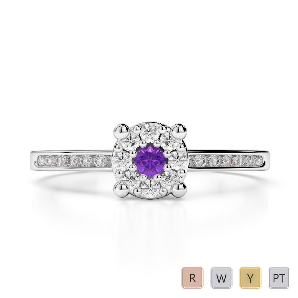 Gold / Platinum Round Cut Amethyst and Diamond Engagement Ring AGDR-1163