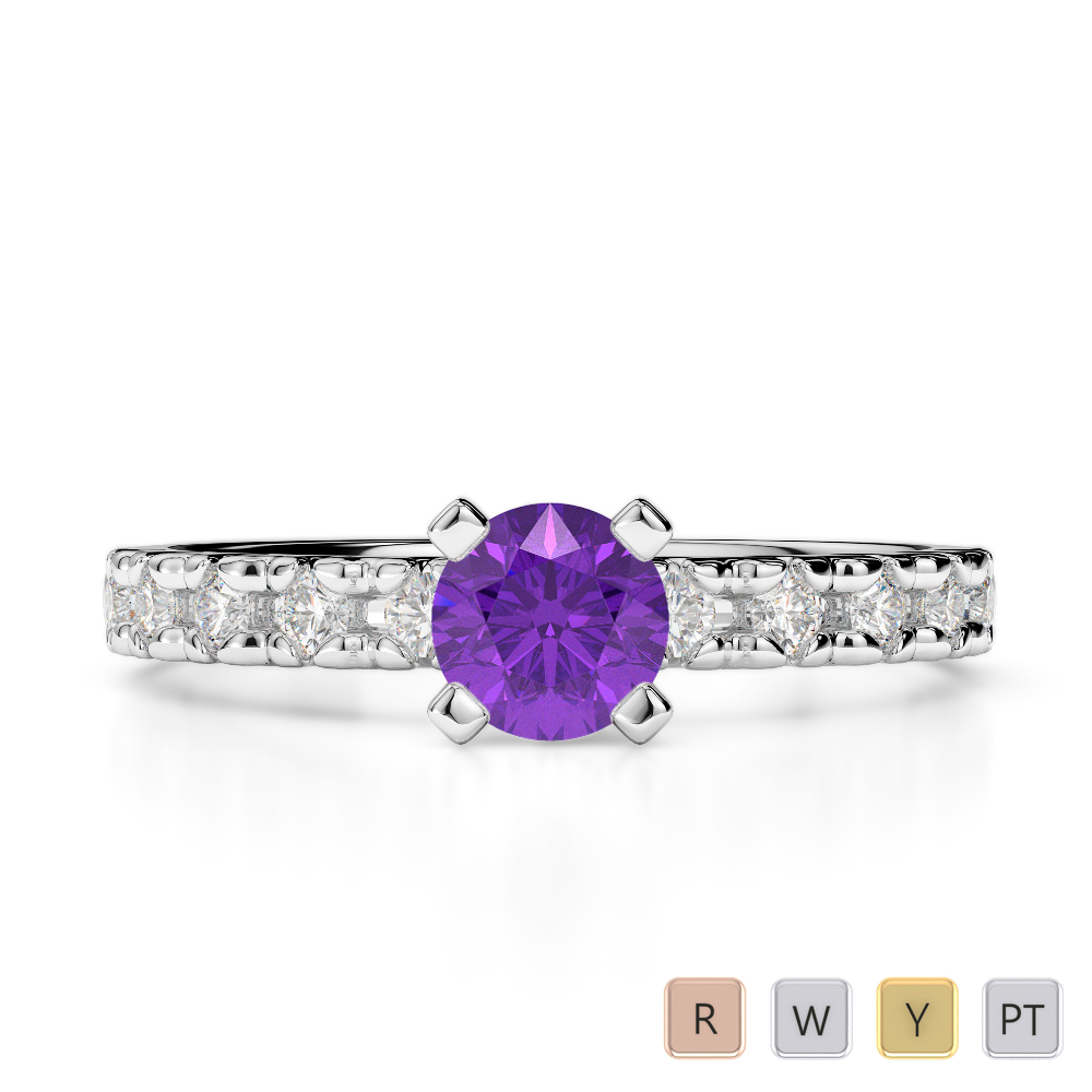 Gold / Platinum Round Cut Amethyst and Diamond Engagement Ring AGDR-1171