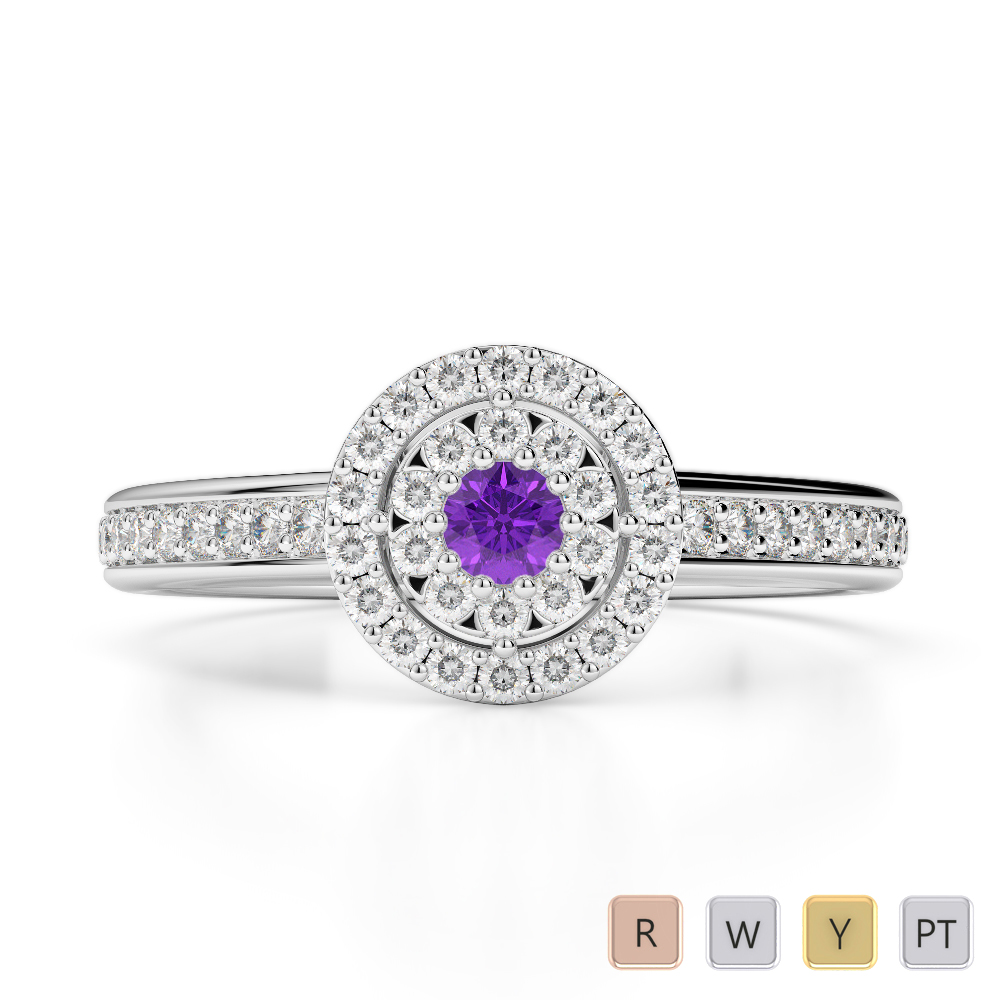 Gold / Platinum Round Cut Amethyst and Diamond Engagement Ring AGDR-1188