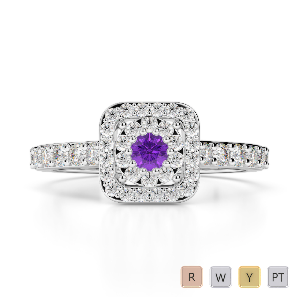 Gold / Platinum Round Cut Amethyst and Diamond Engagement Ring AGDR-1189