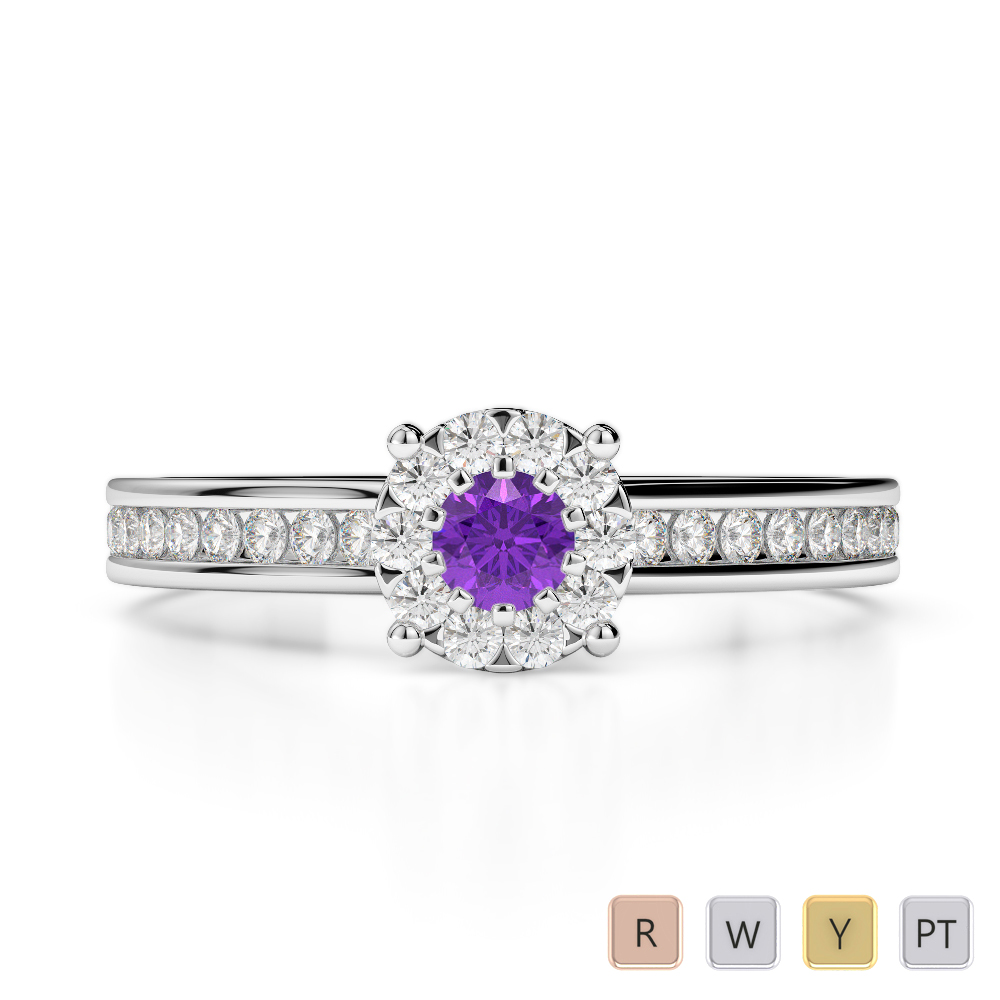 Gold / Platinum Round Cut Amethyst and Diamond Engagement Ring AGDR-1190