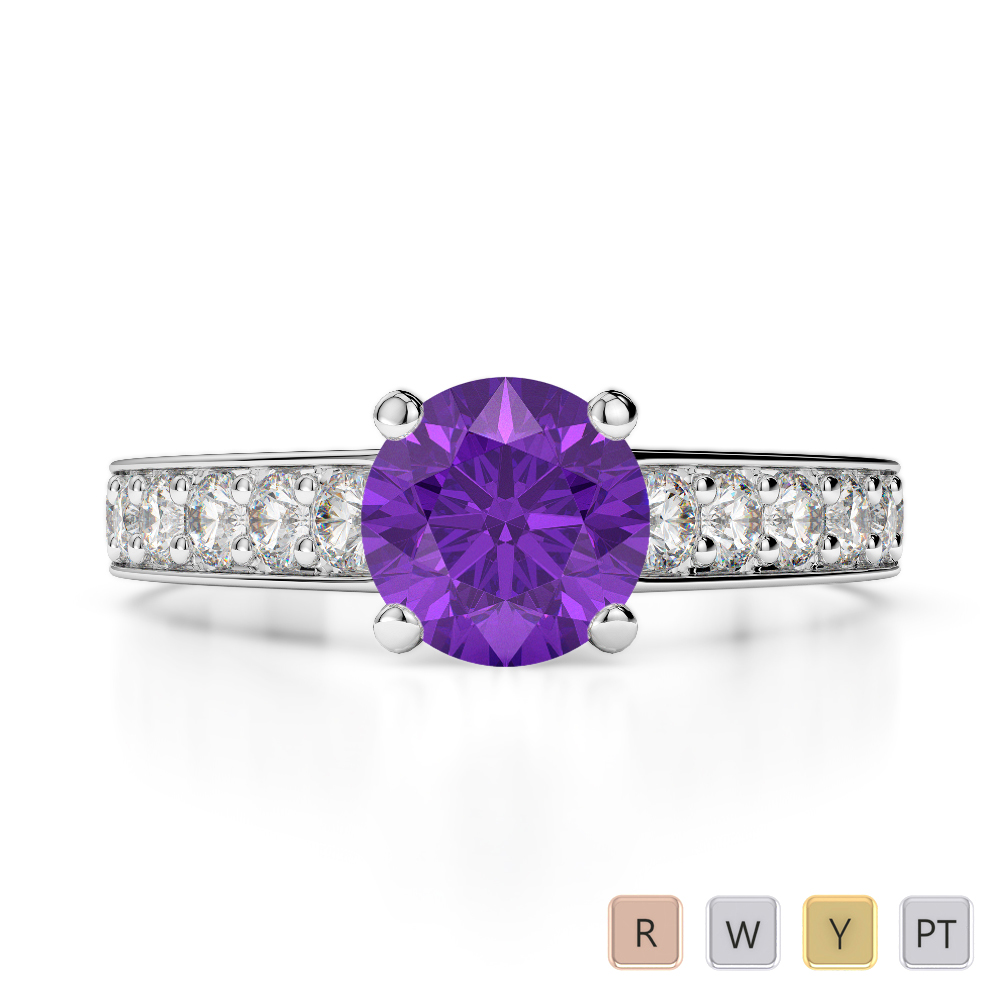 Gold / Platinum Round Cut Amethyst and Diamond Engagement Ring AGDR-1202