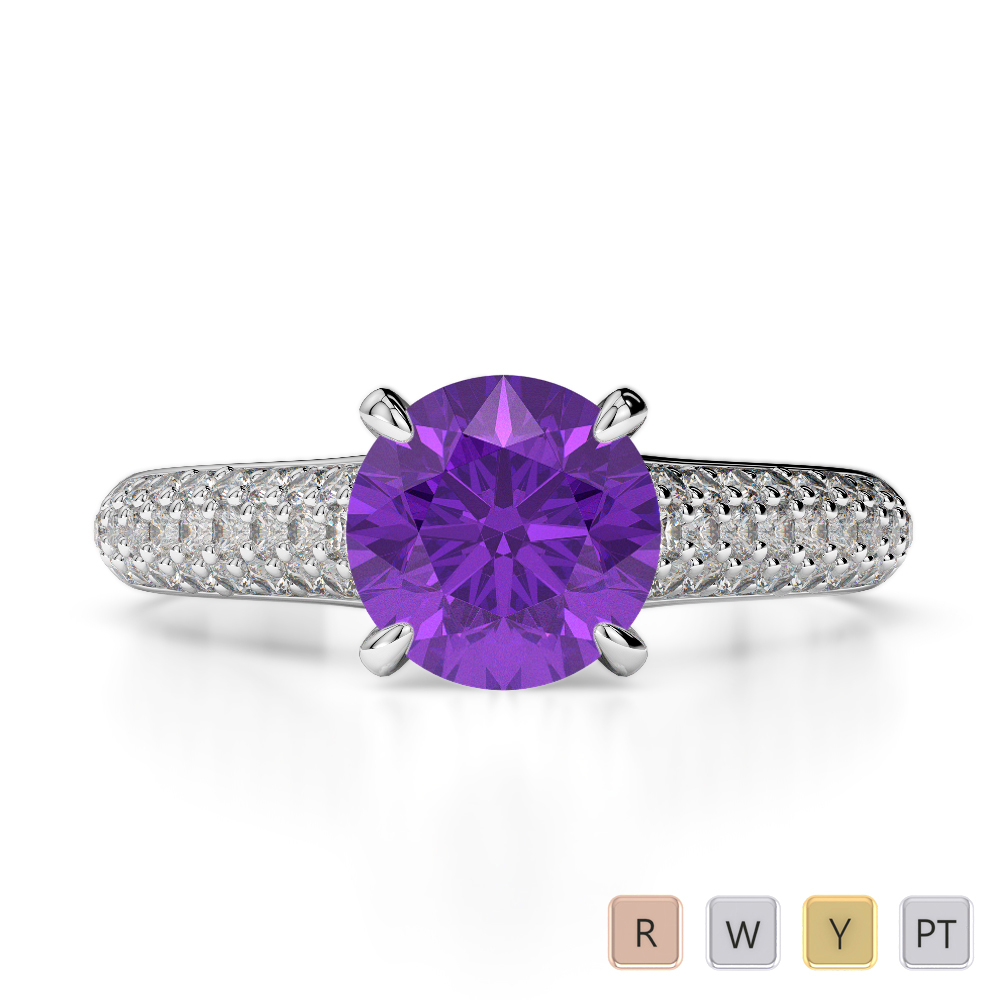 Gold / Platinum Round Cut Amethyst and Diamond Engagement Ring AGDR-1203