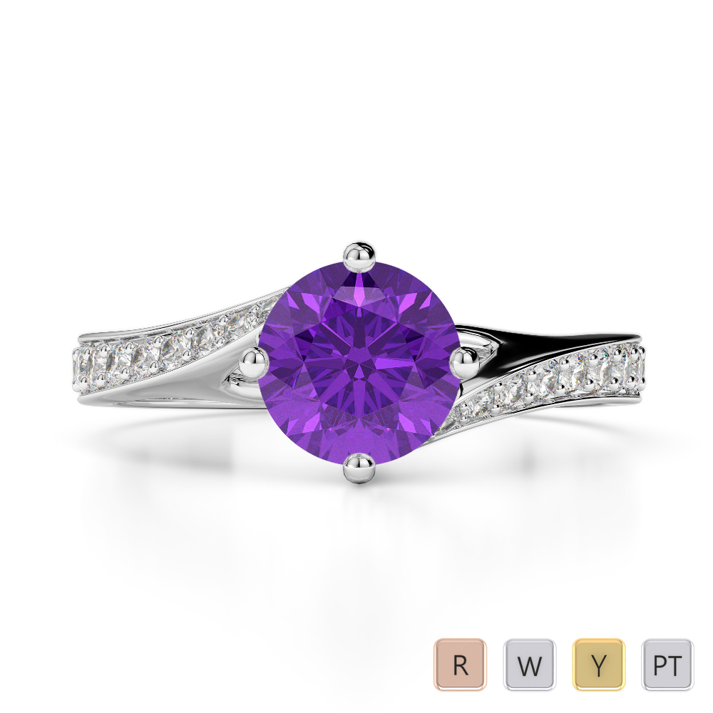 Gold / Platinum Round Cut Amethyst and Diamond Engagement Ring AGDR-1207
