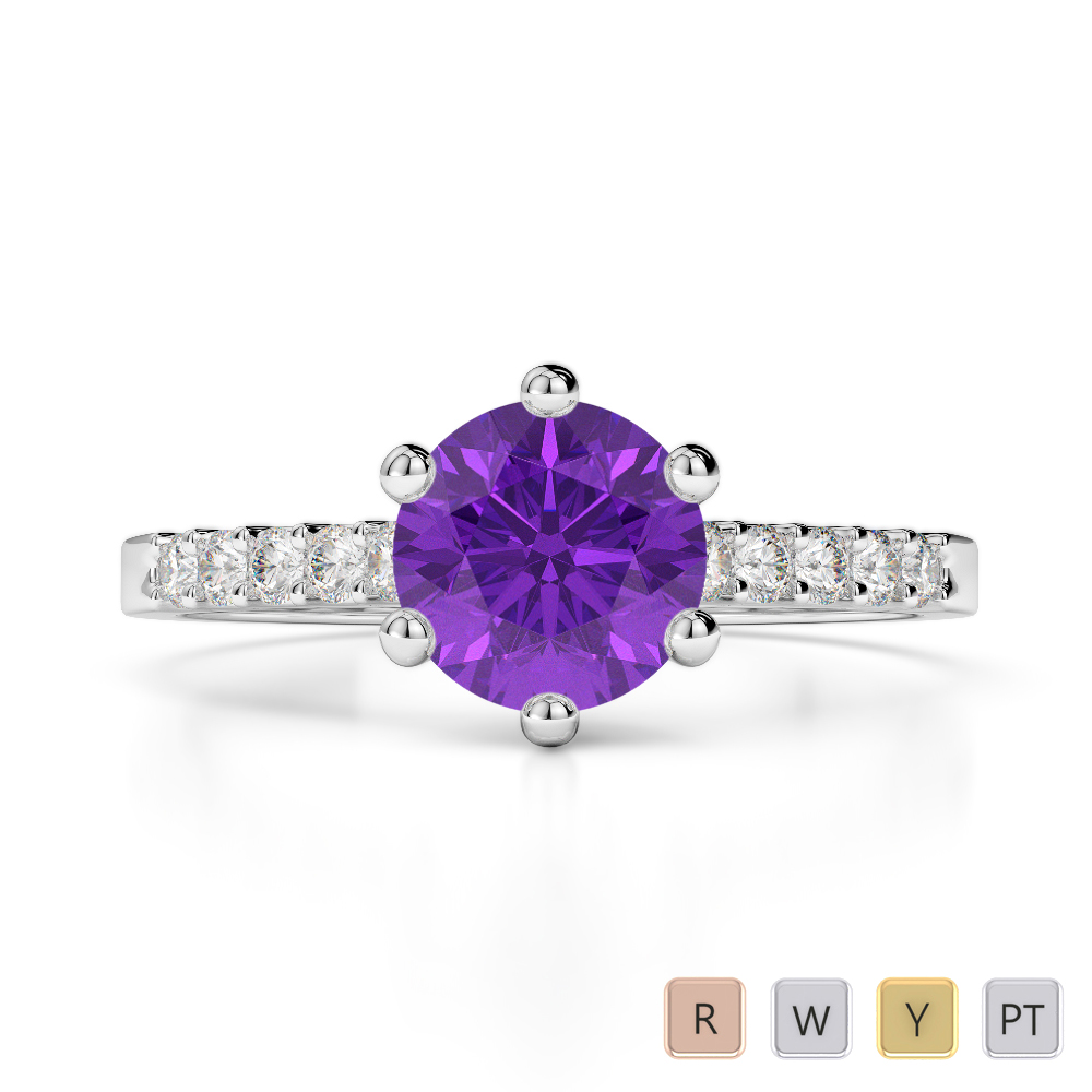 Gold / Platinum Round Cut Amethyst and Diamond Engagement Ring AGDR-1208