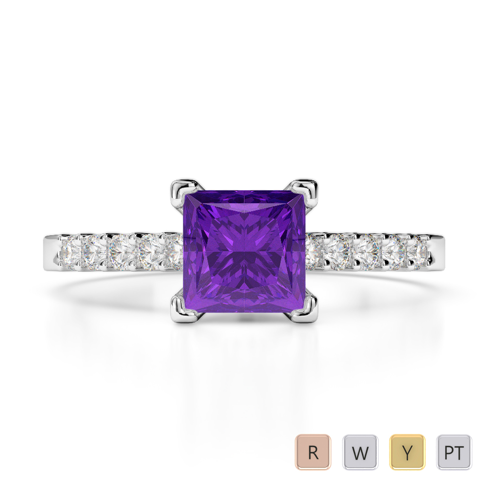 Gold / Platinum Round and Princess Cut Amethyst and Diamond Engagement Ring AGDR-1210