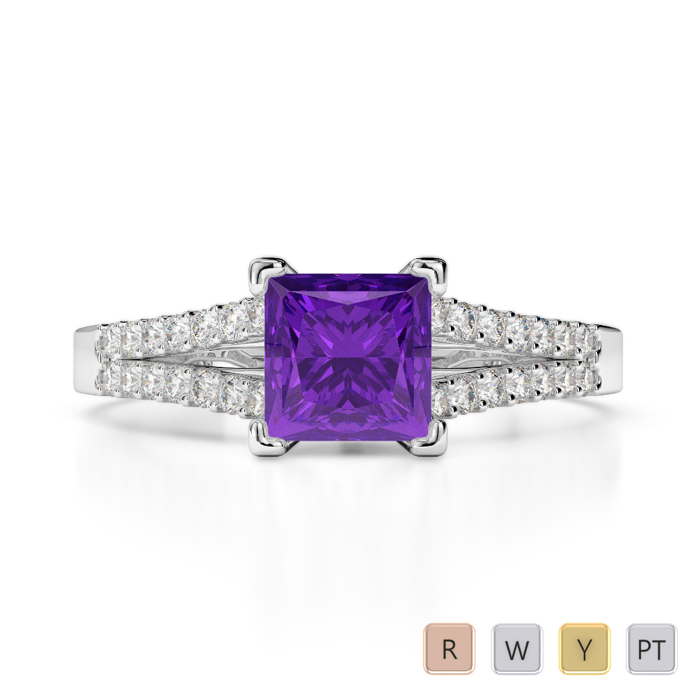 Gold / Platinum Round and Princess Cut Amethyst and Diamond Engagement Ring AGDR-1211
