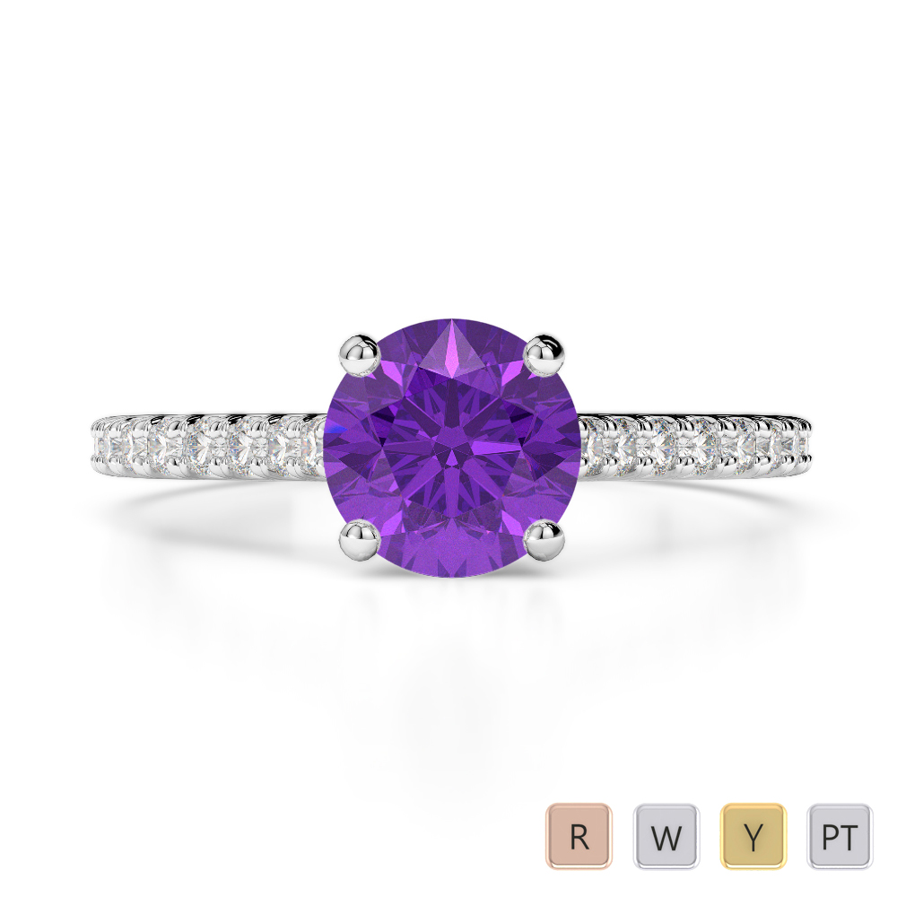 Gold / Platinum Round Cut Amethyst and Diamond Engagement Ring AGDR-1213